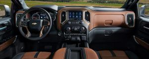 Front interior view of the entire 2021 Chevrolet Silverado 1500 dashboard