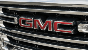 Close-up of GMC Sierra grille